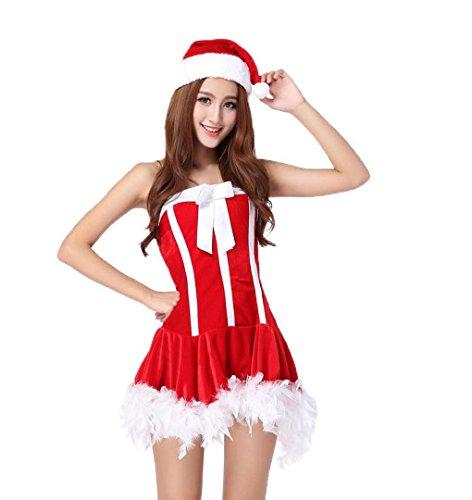 Weihnachten Kleider Outsuits Passt mit Hut Damen,ZEZKT Weihnachtsmann Kostüm Cosplay Geschenk Christmas (Free Size, (Kinder Rudolph Kostüme)