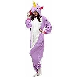Misslight Unicornio Pijamas Animal Ropa de dormir Cosplay Disfraces Kigurumi Pijamas para Adulto Niños Juguetes y Juegos (M, Purple)