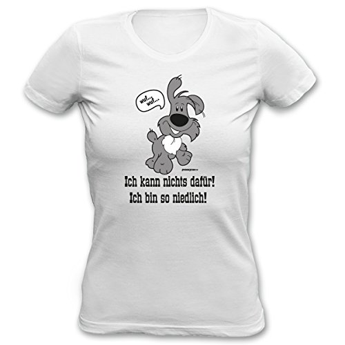 Damen Sprüche-Fun- T-Shirt Girlie-Shirt-Motiv Hund Katze als Muttertags-Geburtstags-Weihnachts-Geschenk Farbe: Khaki, weiss, schwarz weiß-05