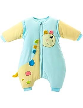 Schlummersack babySchläfsack Langarm Winter Kinder Schlafsack mit Füßen, Abnehmbare Ärmel,ganzjahres Baumwolle...