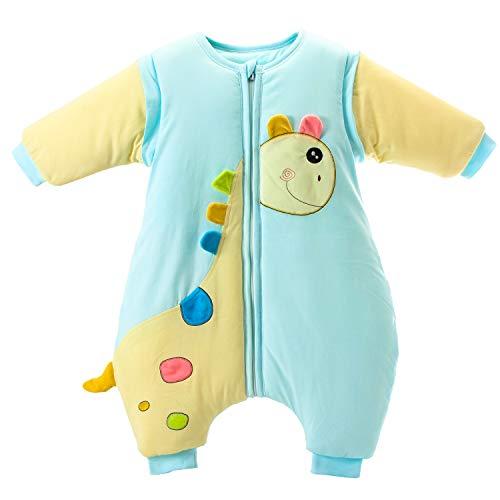 baby Schlafsack langarm winter kinder Schlafsack mit Füßen, Abnehmbare Ärmel,ganzjahres Baumwolle Junge Mädchen unisex Overall Schlafanzug 3.5tog, S Größe:80(0-12 Monate) - Folie Overall