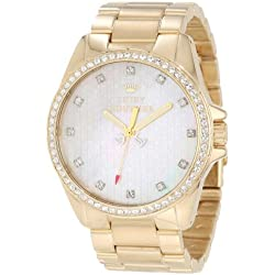 Juicy Couture Stella Women's Quartz Watch with Mother of Pearl Dial Analogue Display and Gold Stainless Steel Plated Bracelet 1901009