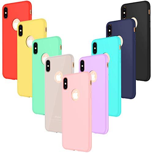 9× Custodia iPhone XS Cover Silicone (NON per XS MAX o XR), Leathlux Sottile Morbido TPU Custodie Cover per iPhone XS/X 5.8' Rosa,Verde,Porpora,Azzurro,Giallo,Rosso,Blu scuro,Traslucido,Nero