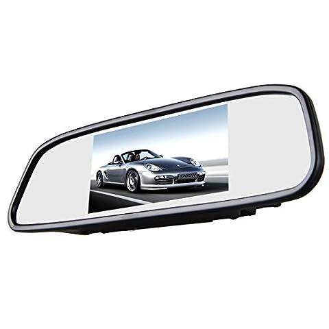Phansthy 10,9cm LCD de voiture Rétroviseur TFT Ecran Moniteur de recul automatique 2entrées AV Couleur haute définition