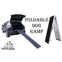 Techstyleuk® Folding Vehicle Dog Ramp Lightweight Aluminium Non Slip Surface for Dogs Black M