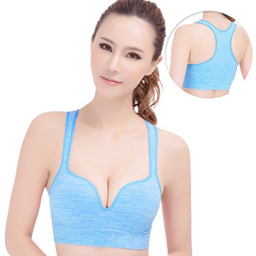 ny Vest Girls Mouvement Underwear Shock Running Fitness Sans anneau en acier Rather No Trace Bra Bleu