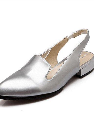 WSS 2016 Chaussures Femme-Mariage / Habillé / Décontracté / Soirée & Evénement-Noir / Blanc / Argent-Talon Bas-Bout Pointu-Talons-Matières white-us6.5-7 / eu37 / uk4.5-5 / cn37