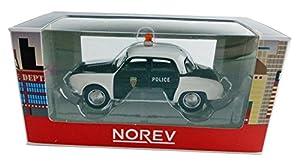 Norev-319126dau/Pol-Renault Dauphine Pío Policía-Escala 1/64-Negro/Blanco