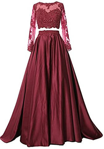 MACloth Women 2 Piece Long Sleeve Prom Dress 2017 Lace Satin Formal Evening Gown (UK8, Burgundy)