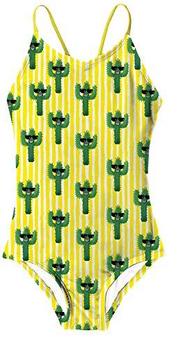 RAISEVERN Cactus Printing ärmellose Bandage gelb Badeanzüge Kinder Sommer Strand Bademode Badeanzug für kleine Mädchen -