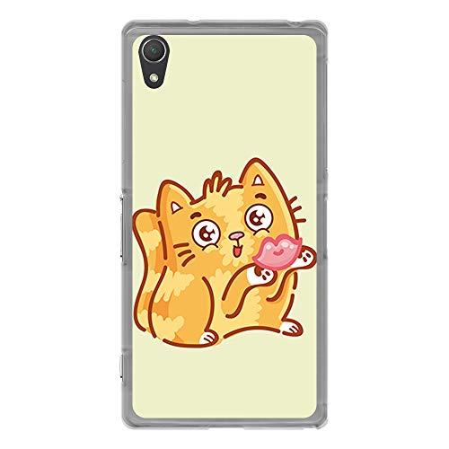 BJJ SHOP Transparent Hülle für [ Sony Xperia Z2 ], Klar Flexible Silikonhülle, Design: Nettes und süßes Kätzchen sendet Kuss - Sony Net