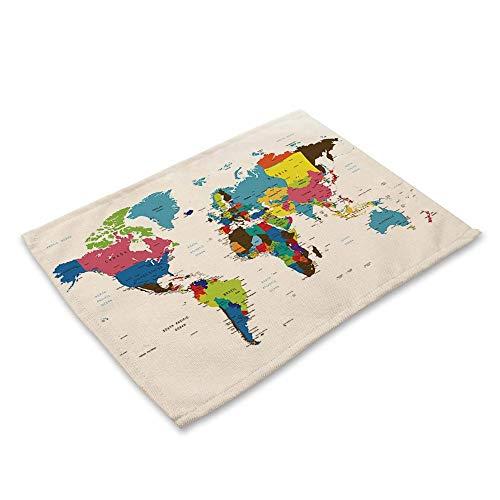 NoblePlacemat Estilo Simple Mantel Individual,Serie de impresión del Mapa Mundial algodón y...