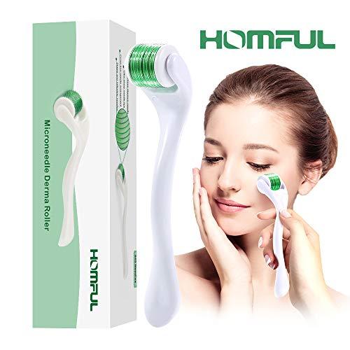 HOMFUL Dermaroller 0.5mm mit Titanlegierung 540 Nadeln zur Narbenbildung bei Akne, Faltenentfernung, Hautpflege glatt mit Deutschlandanweisung (0,5 mm) (Grün)