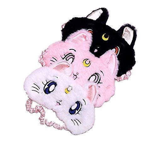 GOOTRADES 3 Stücke Nickerchen 3D Katze Schlaf Maske Lustig Plüsch Augen Maske mit Stirnband für Frauen Mädchen