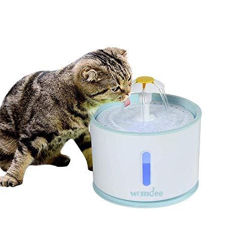 Katzen Trinkbrunnen, 2.4L Ultra-Silent Wasserbrunnen mit Aktivkohlefilter, 3 Modi des Wasserflusses, Wasserblumenbrunnen, LED-Nachtlicht, Ideal für Katzen und Kleine Hunde