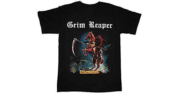 GRIM REAPER SEE YOU IN HELL HEAVY METAL BAND NWBHM S-XXL NEW BLACK T-SHIRT