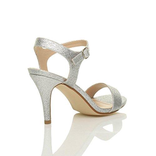 Femmes haute talon boucle fête élégant à lanières sandales chaussures pointure Argent Scintillante Paillettes