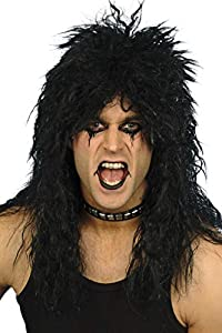 NET TOYS Peluca Estrella de Rock Duro   Melena Kiss Rock Pesado   Pelo Hard Rock   Cabello Postizo Punk
