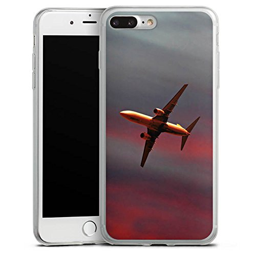 Apple iPhone 8 Plus Slim Case Silikon Hülle Schutzhülle Flugzeug Fliegen Airplane Silikon Slim Case transparent
