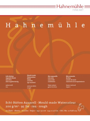 Aquarellblock Hahnemühle rau 200g 8x10,5cm 20 Blatt