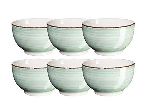 Mäser, Serie Bel Tempo, Müslischale 14 cm, Keramik Geschirr im 6er-Set, in der Farbe Hellgrün