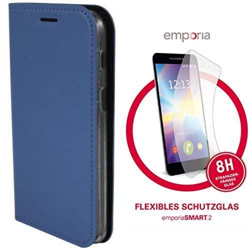 Emporia Handy-Schutzhülle im Book-Case Design mit Visitenkartenfach passend für emporia Smart.2 und  dünnes & flexibles Schutzglas für SMART.2 (8H)