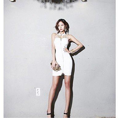 PU&PU Robe Aux femmes Moulante Simple,Couleur Pleine Col Arrondi Au dessus du genou Coton / Polyester WHITE-S