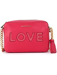 Michael Kors Women's Michael Kors Ginny Ultrapink Leather Shoulder Bag With Love Writing Pink
