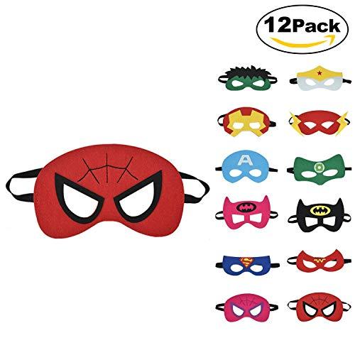 12 x Kinder Masken | Super Masken | | Augen Masken | | Mitgebsel | Kindergeburstagen | Gastgeschenke für Cosplay Party masquerade im Alter von 3 bis 12 Jahre alt