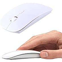 UrChoiceLtd® Ratón Inalambrico, 2.4GHz Inalámbrico Forma De Ajuste Ergonómico Curvo USB Inalámbrico Óptico Ratón De Juegos Con Nano Receptor Para Manzana MacBook Air Pro PC Laptop