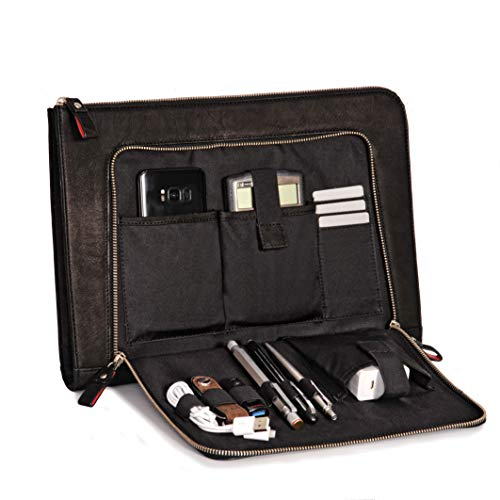 Donbolso Notebook Sleeve London schwarz - 13,3 Zoll DIN A4 Ultrabook Aktentasche aus Echtleder für Herren und Damen -