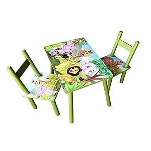 HTI-Line Kindertischgruppe Dschungel Kindermöbel Kinderstuhl Kindersitzgruppe Holzsitzgruppe Kindertisch mit 2 Stühle…