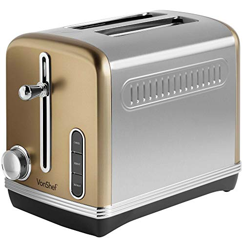 VonShef Automatik Toaster für 2 Scheiben 1150W - Champagnerfarben, Edelstahl - 6 Bräunungsstufen, entnehmbares Krümelfach - Auftau-, Aufwärm-, Abbruchfunktion, Brotschlitz 32 mm