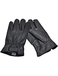 Men's Black Real Leather Gloves with Velcro Fastening In Various Sizes