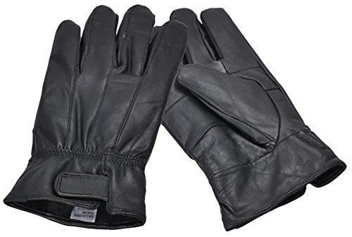 Mittel schwarzen Echtlederhandschuhe mit Klettverschluss ()