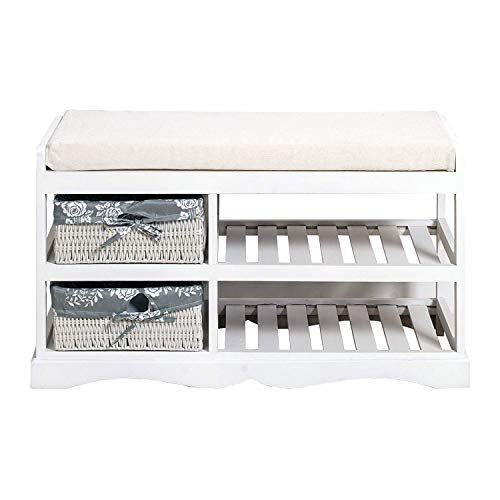 Rebecca mobili re4020 panca per ingresso con 2 cassetti, legno/vimini, stile shabby, bianco, 45.5 x 80 x 35 cm