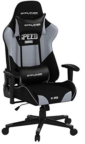 GTPLAYER Gaming Stuhl Racing Stuhl Bürostuhl Kunstleder PU Chefsessel Höhenverstellbarer Schreibtischstuhl Ergonomisches Design mit Verstellbaren Armlehnen (Grau)
