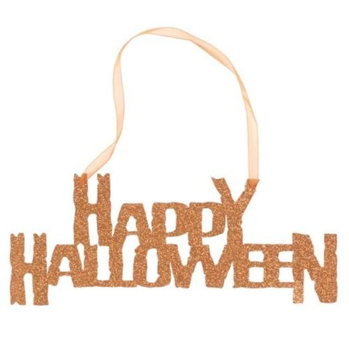 creative Converting Day Happy Halloween Hanging glitter Sign with Ribbon