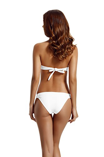 Zeraca Damen Diamant Push up Bandeau Bikini Badeanzug White