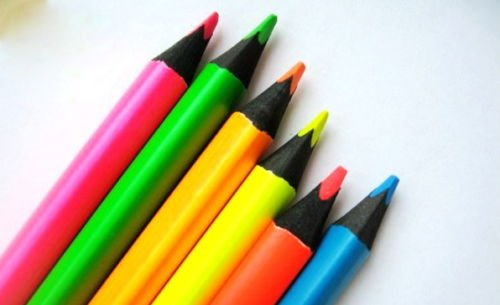 Juego 6 lápices colores fluorescentes madera negra