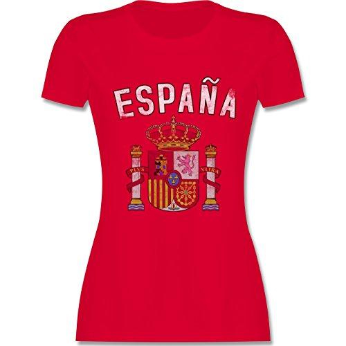 Fußball-Europameisterschaft 2020 - Spanien Wappen - XL - Rot - L191 - Tailliertes Tshirt für Damen und Frauen T-Shirt -