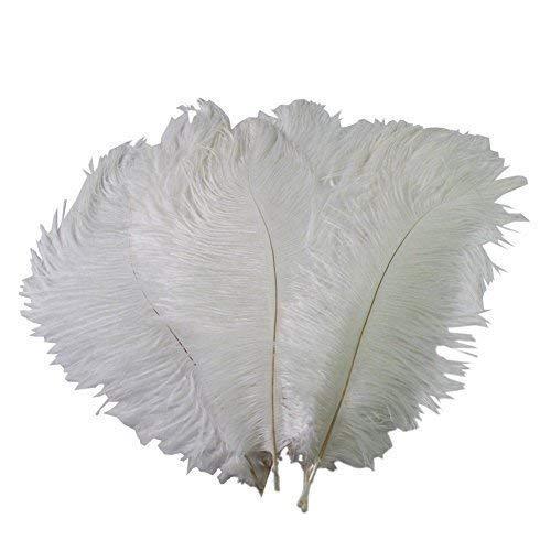 Und Kunst Kostüm Handwerk - Weddecor Aqua Blau natürliche Straußenfedern, 14-16Zoll (35-40cm), für Hochzeit, zu Hause, Deko Kostüm Zierde, Kunst und Handwerk, Partys (5Stück), weiß, 10