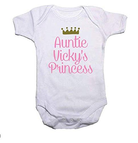 Pretty Little Stickers personnalisé Princesse et Couronne Fille Body bébé/Gilet Cadeau de Baby Shower Ajouter n'importe Quel nom - Blanc - 3 Mois