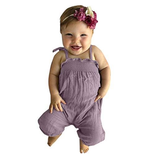 Alwayswin Baby Mädchen Sommer Strampler Ärmellose Sling Overall Kleidung Einfarbig Einfach Romper Freizeit Outdoor Süß Jumpsuit Bodysuit Mode Weste Cool Strampler Babykleidung (Kostüm-partei-ideen Paare Für)