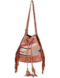 IndiWeaves Women Vintage Handmade Kilim Leather Handle Cross Body Sling Bag - B07658YLX6
