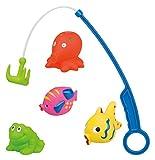 Idena 40315 Magnetfischen, Kleinkindspielzeug ab 10 Monate, mit 4 Tieren und Blauer Magnet-Angel