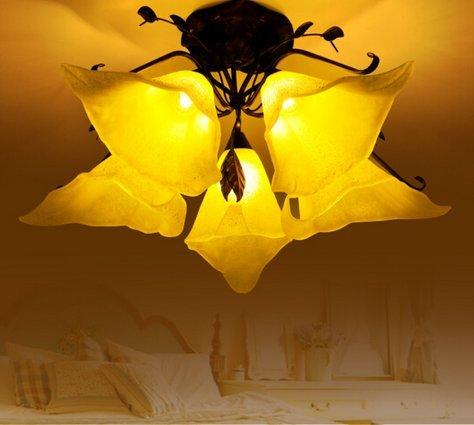 Europäisches Schlafzimmer Lampe-Europäisches Deckenleuchte Wohnzimmer das amerikanische Land Mittelmeer Wohnzimmer Lampe Big Hall Romantisches Schlafzimmer mit Lampe 5 Kopf saugen -