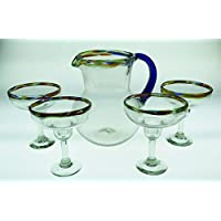 Mexican Margarita Glasses and Pitcher, Confetti Rim and Blue Handle