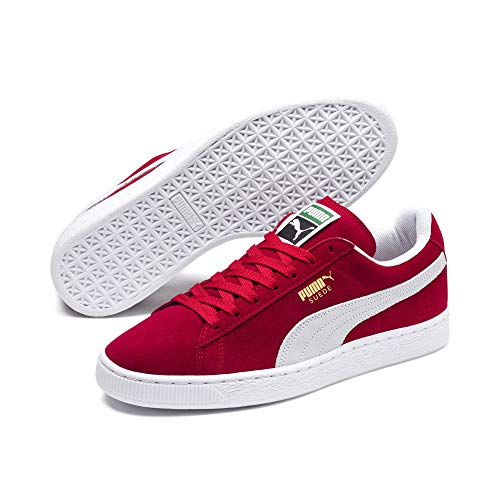 Puma Herren Sneakers Suede Classic+ - Turnschuhe aus Velours-Leder, Klassiker für einen sportlichen Lifestyle Suede Classic+ Team Regal red-White 11.5