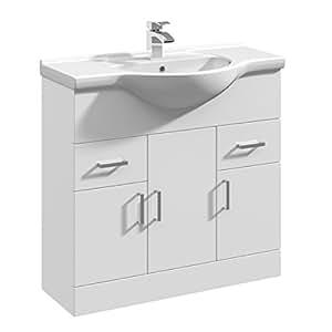 VeeBath Linx Bathroom White Gloss Vanity Unit Basin Sink 850mm Storage Unit Cabinet Ceramic Furniture
